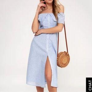 BB Dakota Jeanna Off Shoulder button down dress